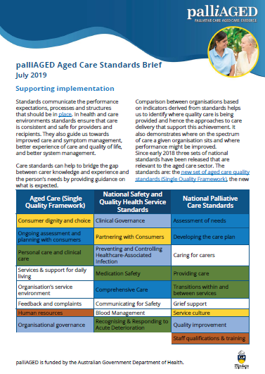 screenshot of the palliAGED Brief on supporting aged care standards