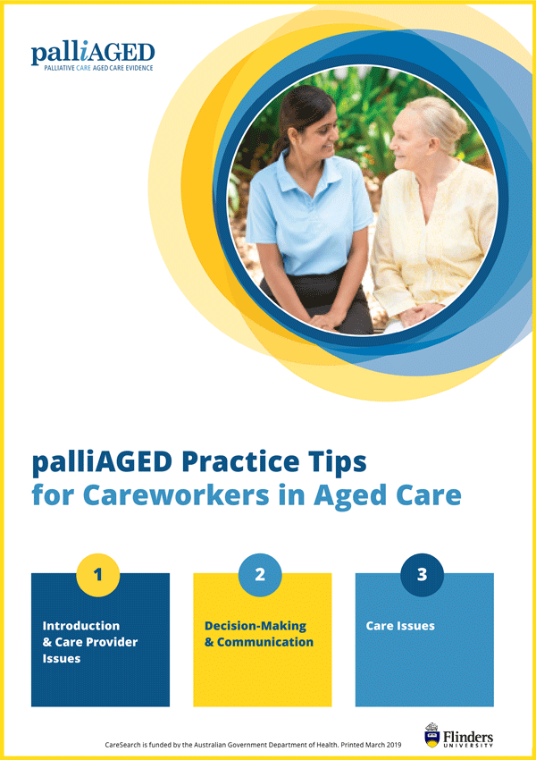 palliAGED Practice Tips for Careworkers in Aged Care front cover