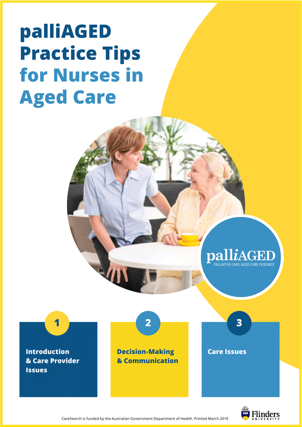 palliAGED Practice Tips for Nurses in Aged Care front cover